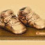 бронзирование обуви на подставке